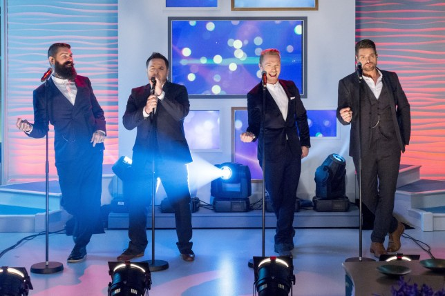 EDITORIAL USE ONLY. NO MERCHANDISING Mandatory Credit: Photo by Ken McKay/ITV/REX/Shutterstock (4271564bk) Boyzone - Shane Lynch, Mikey Graham, Ronan Keating and Keith Duffy. 'Lorraine' ITV TV Programme, London, Britain. - 26 Nov 2014