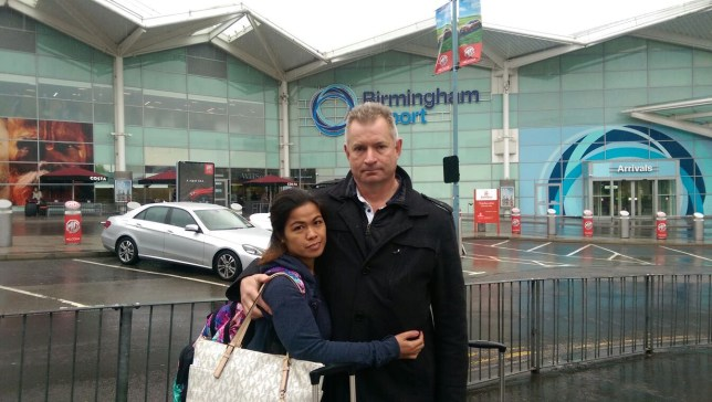 The is the heartbreaking moment a love-struck couple said their goodbyes - having been torn apart in an immigration mix-up. For most, arriving at the Birmingham Airport is a joyous occasion marking the start of a break away from reality or a sunny trip abroad. Caption: Richard Brown (right) and his fiance Christy say their goodbyes at Birmingham Airport