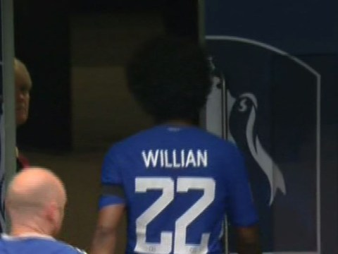 Chelsea forward Willian heads straight down tunnel after being subbed off during FA Cup semi-final
