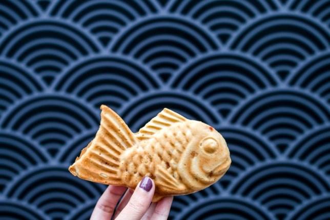 Japanese fish-shaped cake with filling taiyaki