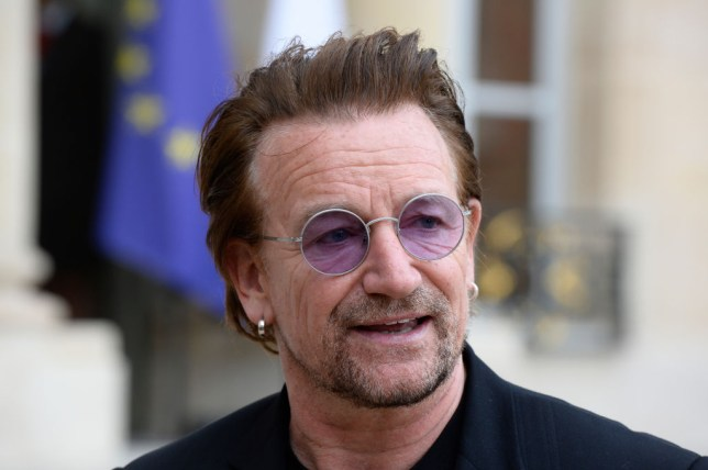 Bono is received by President Emmanuel Macron Receives Bono at Elysee Palace