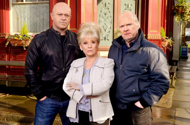 Television Programme: EastEnders with Ross Kemp as Grant, Barbara Windsor as Peggy and Steve McFadden as Phil. WARNING: Embargoed for publication until 00:00:01 on 10/05/2016 - Programme Name: EastEnders - TX: 19/04/2016 - Episode: EastEnders - Mitchells (No. n/a) - Picture Shows: *STRICTLY NOT FOR PUBLICATION UNTIL 00:01HRS, TUESDAY 10th MAY, 2016* ***FORTNIGHTLIES PLEASE DO NOT USE (SOAP LIFE AND ALL ABOUT SOAP) Grant Mitchell (ROSS KEMP), Peggy Mitchell (BARBARA WINDSOR), Phil Mitchell (STEVE MCFADDEN) - (C) BBC - Photographer: Kieron McCarron