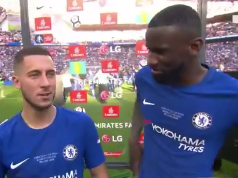 Antonio Rudiger begs Eden Hazard to stay after FA Cup win – and he has the perfect response