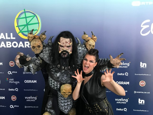 Saara Aalto and Lordi at 2018 Eurovision Song Contest for Finland