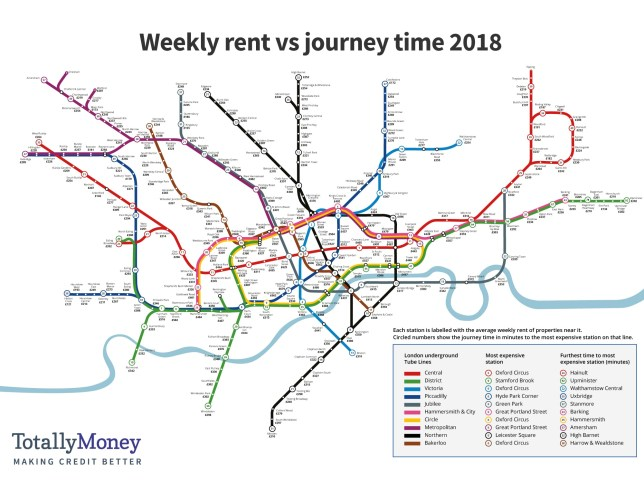 Tube map reveals cheapest places for commuters to live in