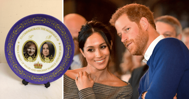 Celebrate the royal wedding with a commemorative plate featuring Meghan Markle... and Ed Sheeran