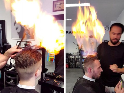 Barber ditches the scissors to style customers' hair with fire
