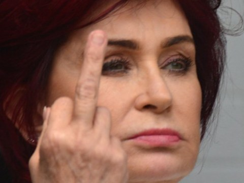 Sharon Osbourne flips the bird as she shows what happens when you interrupt her lunch