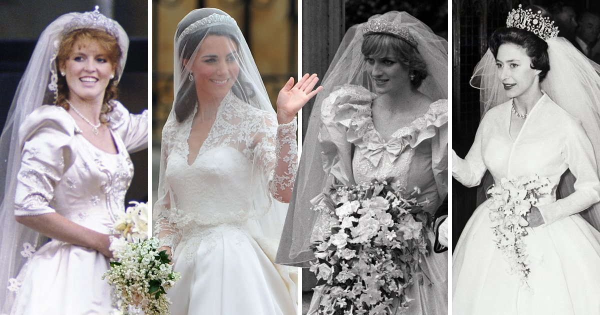 Royal wedding dresses through the years – the Queen, Kate Middleton, Princess Margaret, Diana and more