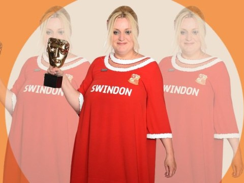 Daisy May Cooper accepts TV Bafta barefoot and in a Swindon Town FC dress