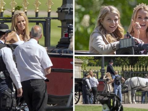 Amanda Holden gets royal wedding ready as she films in tiara ahead of US presenting gig