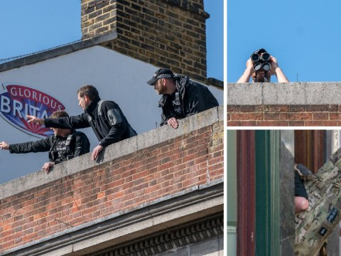 Police snipers take up positions to protect Harry and Meghan during royal wedding