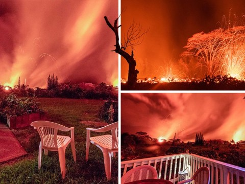 Pensioner's terrifying view of Hawaii volcano from her bedroom window