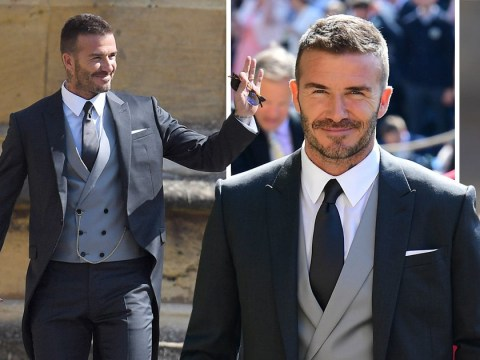 'What a man!': David Beckham almost steals Prince Harry's thunder in sharp royal wedding suit