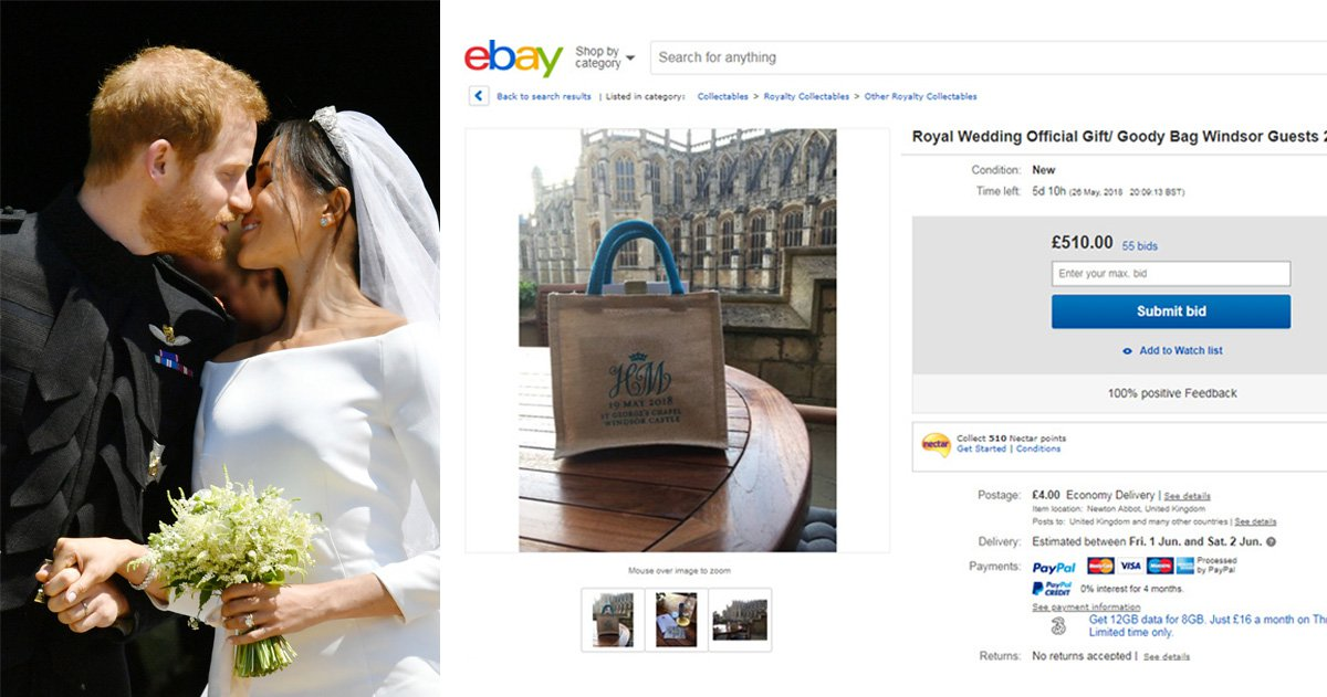 Cheeky guests are selling the goody bags they got at the royal wedding for up to £500