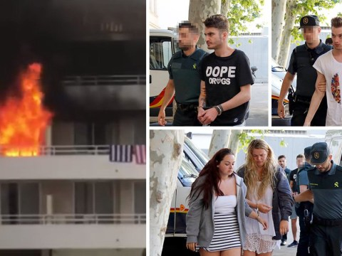 Pictured: Four Brits who 'set fire to Magaluf hotel trying to burn friend's feet'
