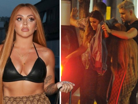 Jesy Nelson is all of us as she kicks her heels off while friends help her into cab on night out
