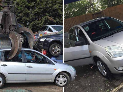 Thief sends picture of car he nicked being crushed at scrapyard to owner