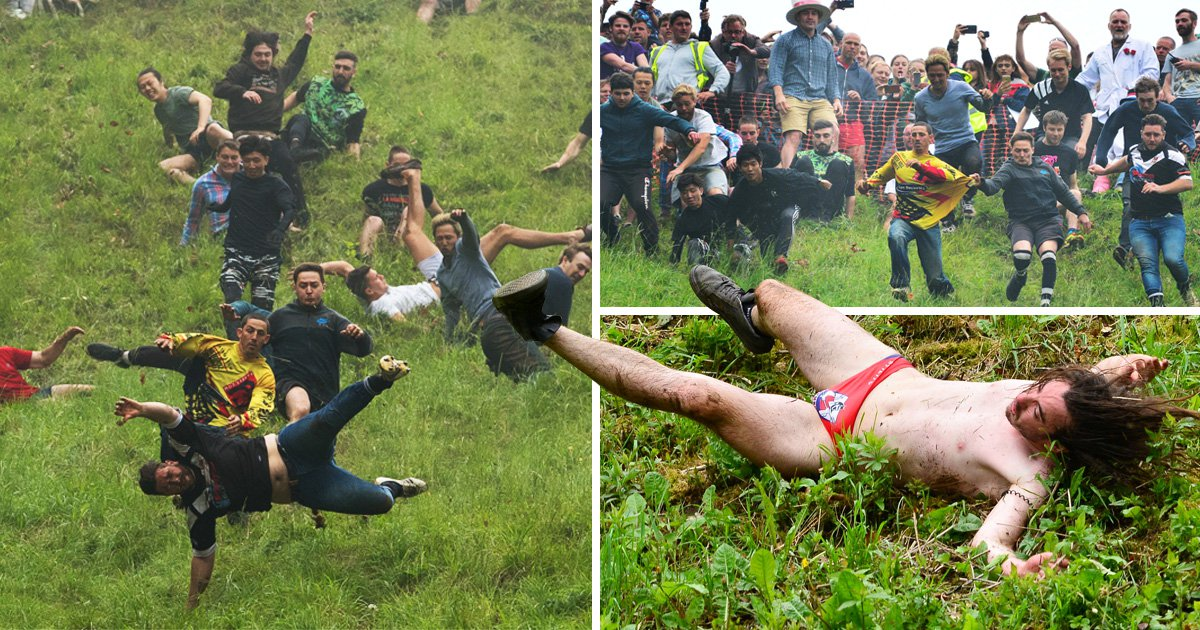 Man runs after cheese in budgie smugglers but can't beat the champion chaser