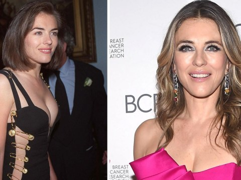 Liz Hurley might be comfortable freeing the nipple, but don't ask her to wear famous 'safety-pin dress' again