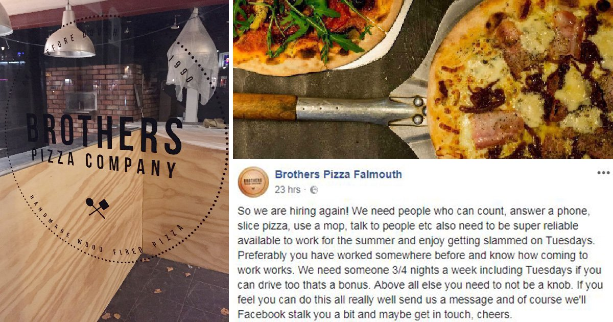 Pizzeria In Cornwall Posts Dont Be A Knob Job Advert