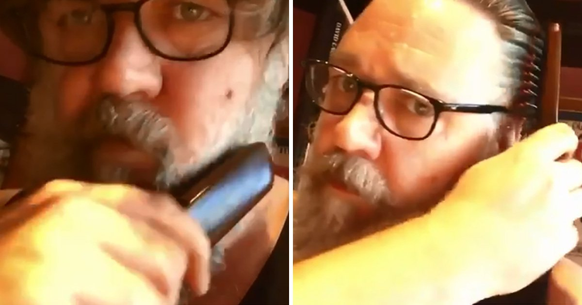 Russell Crowe brushing his beard is the most intense video you'll see all day