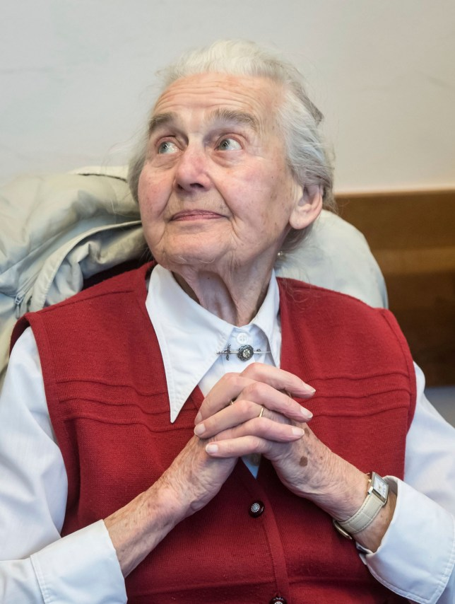 FILE - In this Nov. 23, 2017 file photo Ursula Haverbeck, sitting in the court room of the District Court waiting for her appeal hearing in Detmold, Germany. A group of Holocaust survivors has urged the German authorities to search for a notorious neo-Nazi who didn???t show up to begin her prison sentence last week. The International Auschwitz Committee said Sunday May 6, 2018 it hopes that 89-year-old Ursula Haverbeck, who has been sentenced to two years of prison for incitement, will soon be found. (Bernd Thissen/dpa via AP,file)