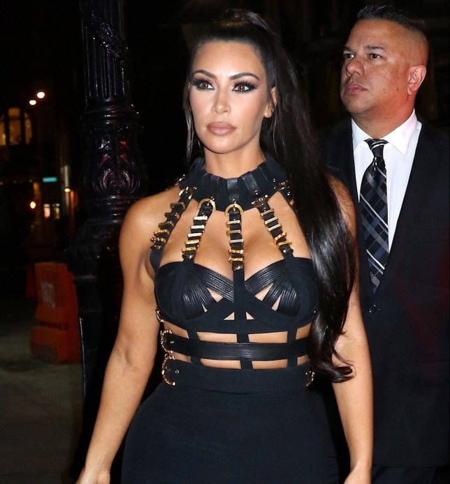 3e7f38284bf00 Kim Kardashian goes all Fifty Shades in bondage dress at Met Gala afterparty