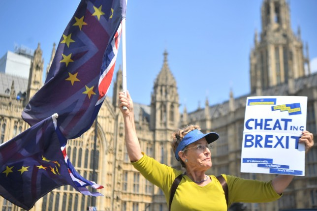 """An activist waves European Union and Union flags outside the Houses of Parliament in Westminster, London. PRESS ASSOCIATION Photo. Picture date: Tuesday May 8, 2018. Theresa May will be forced to abandon proposals for a """"customs partnership"""" with the EU, a leading Conservative Brexiteer has warned. See PA story POLITICS Brexit. Photo credit should read: Victoria Jones/PA Wire"""