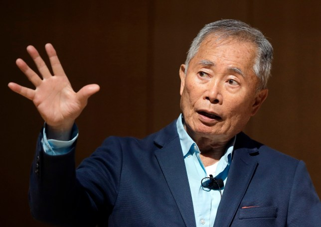 """Actor George Takei, best known for his role as Hikaru Sulu on the television series """"Star Trek,"""" speaks about his experiences in U.S. internment camps during World War II, at an appearance at Boston Public Library, Tuesday, May 8, 2018, in Boston. Takei used his family's story as the inspiration for the Broadway musical """"Allegiance."""" (AP Photo/Steven Senne)"""