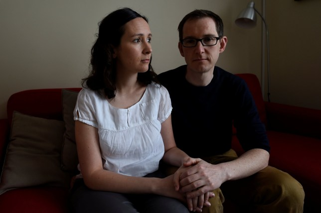 Amy Callahan, who received a fatal foetal diagnosis at 12 weeks into her pregnancy and travelled to Liverpool for a termination, poses for a photograph with her partner Connor Upton, at their home in Dublin, Ireland, May 7, 2018. Picture taken May 7, 2018. REUTERS/Clodagh Kilcoyne