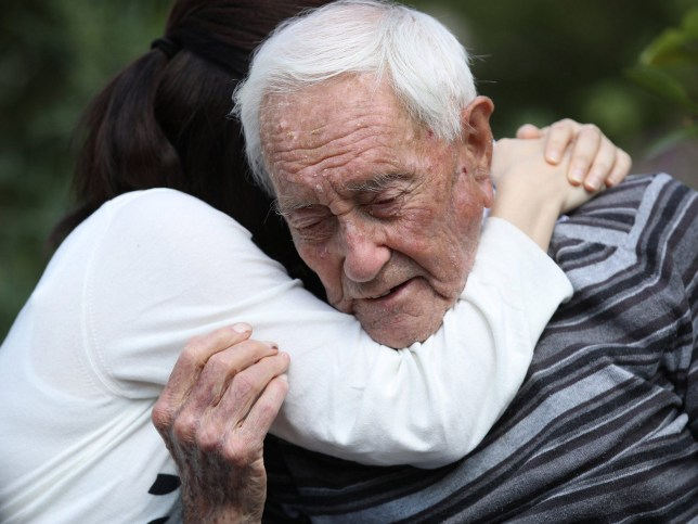 BASEL, SWITZERLAND - MAY 09: Australian botanist and academic David Goodall, who is 104 years old, gets a hug from Taiwanese actress and television hostess Bowie Tsang during the filming of a documentary film about Goodall at the Basel University Botanical Gardens the day before his planned assisted suicide on May 9, 2018 in Basel, Switzerland. Goodall said he made the decision because he had no other choice, as Australia does not allow assisted suicide. Goodall is being assisted by Exit International and plans to end his life on May 10. (Photo by Sean Gallup/Getty Images) ***BESTPIX***