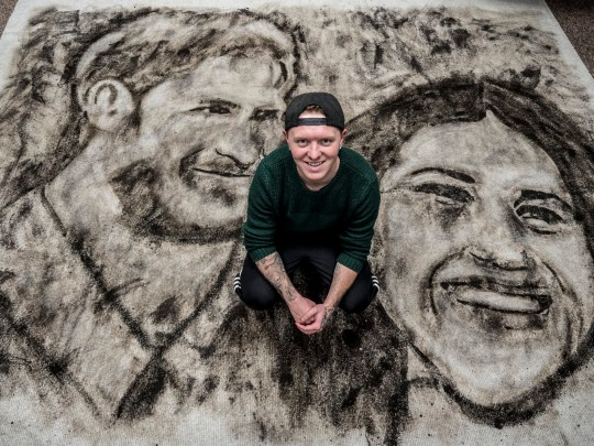 Carpet stain remover artist creates portrait of meghan and harry using coffee, wine, and mud