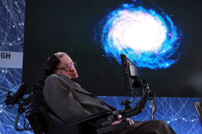 FILE PHOTO: Physicist Stephen Hawking sits on stage during an announcement of the Breakthrough Starshot initiative with investor Yuri Milner in New York April 12, 2016. REUTERS/Lucas Jackson/File Photo