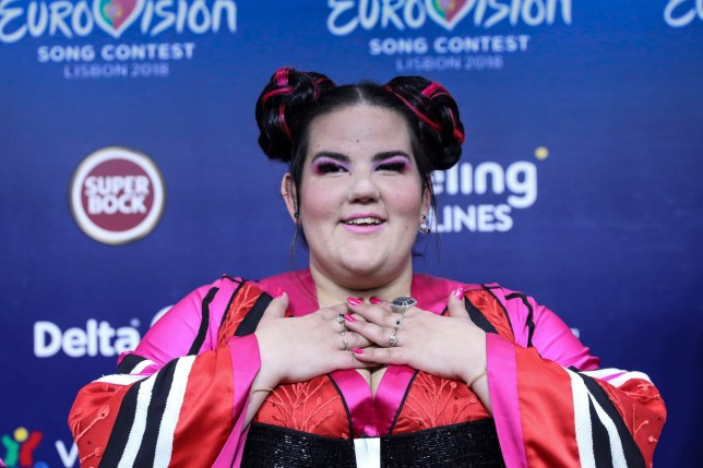 epa06732254 Netta from Israel attends a press conference after winning the Grand Final of the 63rd annual Eurovision Song Contest (ESC) at the Altice Arena in Lisbon, Portugal, 12 May 2018. Twenty-six finalists competed for the ESC 2018. EPA/MIGUEL A. LOPES