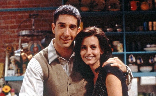 """FRIENDS -- """"The One With the Sonogram at the End"""" Episode 2 -- Pictured: (clockwise from top) David Schwimmer as Ross Geller, Courteney Cox as Monica Geller, Christina Pickles as Judy Geller, Elliott Gould as Jack Geller (Photo by Alice S. Hall/NBC/NBCU Photo Bank via Getty Images)"""