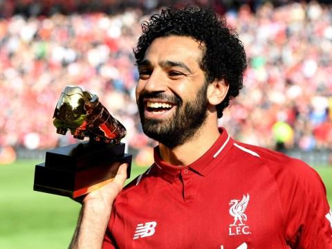 Mohamed Salah celebrates beating Harry Kane to Premier League Golden Boot