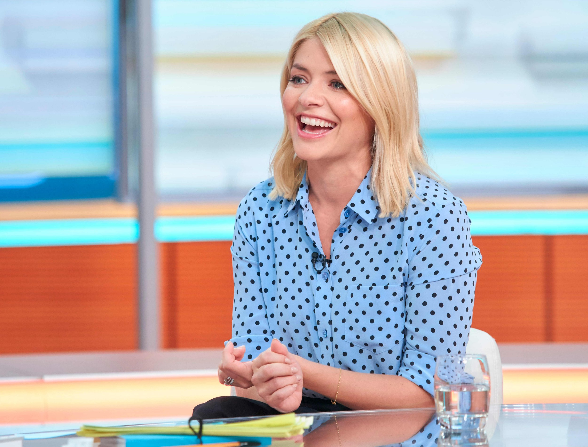 EDITORIAL USE ONLY. NO MERCHANDISING Mandatory Credit: Photo by S Meddle/ITV/REX/Shutterstock (9670662aa) Holly Willoughby 'Good Morning Britain' TV show, London, UK - 14 May 2018