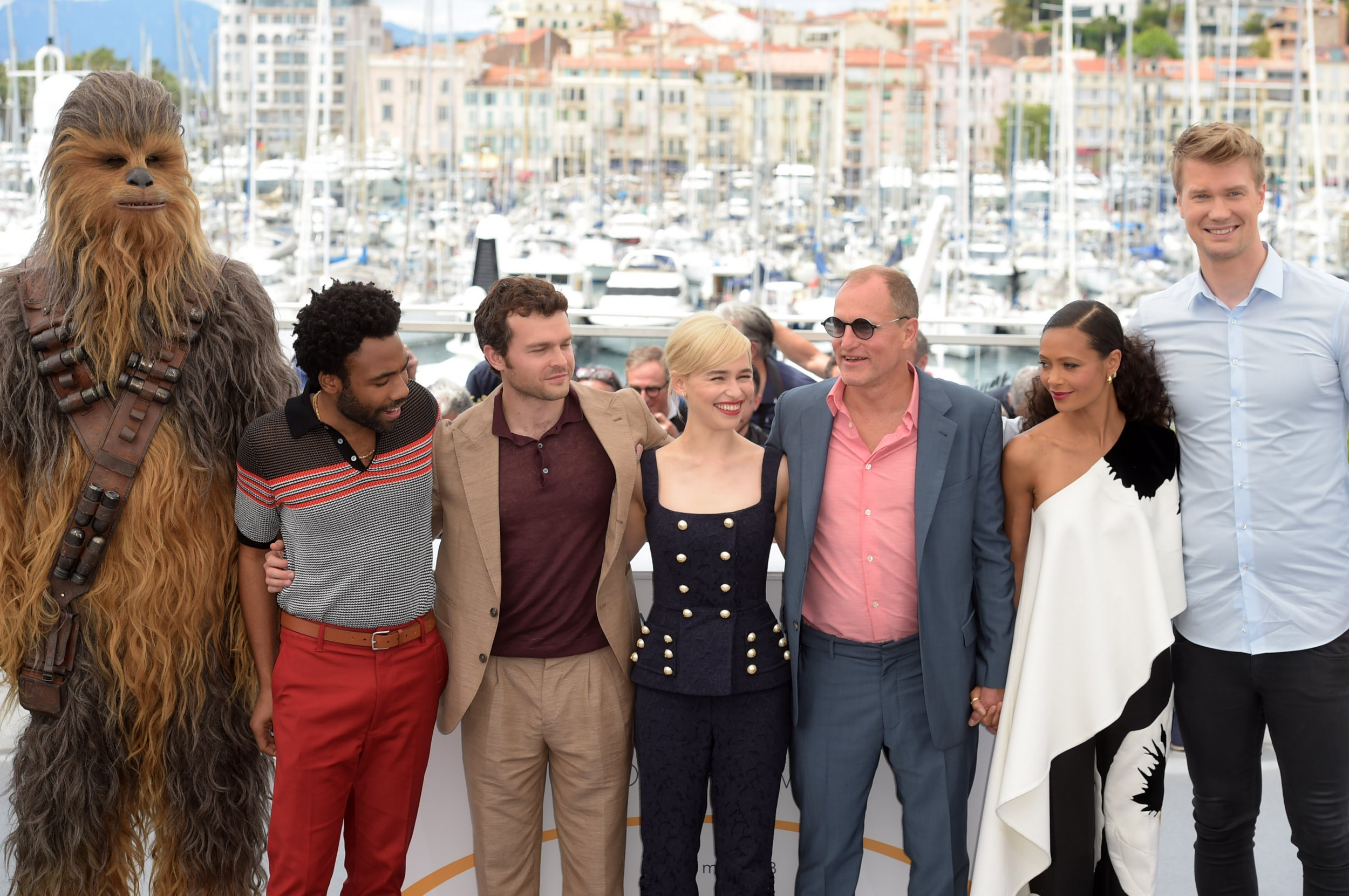 Chewbacca is definitely sweating up a storm as he attends Cannes photocall with Donald Glover and Emilia Clarke