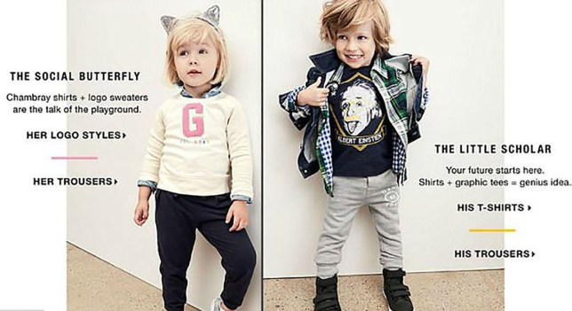 Adverts that show boys as daring and girls as caring to be banned under gender stereotyping rules Credit: GAP