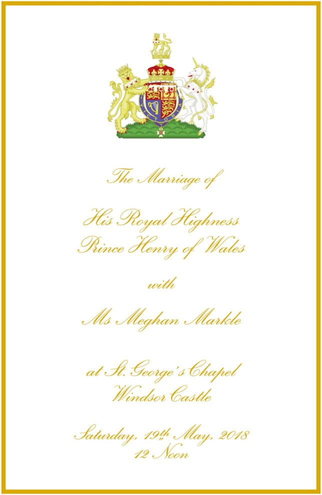 Embargoed to 0001 Saturday May 19 Undated handout image issued by Kensington Palace of the Official Order of Service for the Wedding of Prince Harry and Meghan Markle. PRESS ASSOCIATION Photo. Issue date: Saturday May 19, 2018. The couple's Order of Service reveals the soul classic Stand By Me by Ben E King will echo around the 15th century St George's chapel, performed by Karen Gibson and The Kingdom Choir. See PA story ROYAL Wedding Service. Photo credit should read: Kensington Palace/PA Wire NOTE TO EDITORS: This handout photo may only be used in for editorial reporting purposes for the contemporaneous illustration of events, things or the people in the image or facts mentioned in the caption. Reuse of the picture may require further permission from the copyright holder.