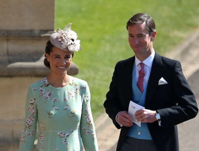 Pippa Middleton arrives with husband James Matthews for the royal wedding between Meghan Markle and Prince Harry at Windsor Castle in Berkshire. The couple's ceremony will take place in St George???s Chapel in the castle grounds. May 19 2018.