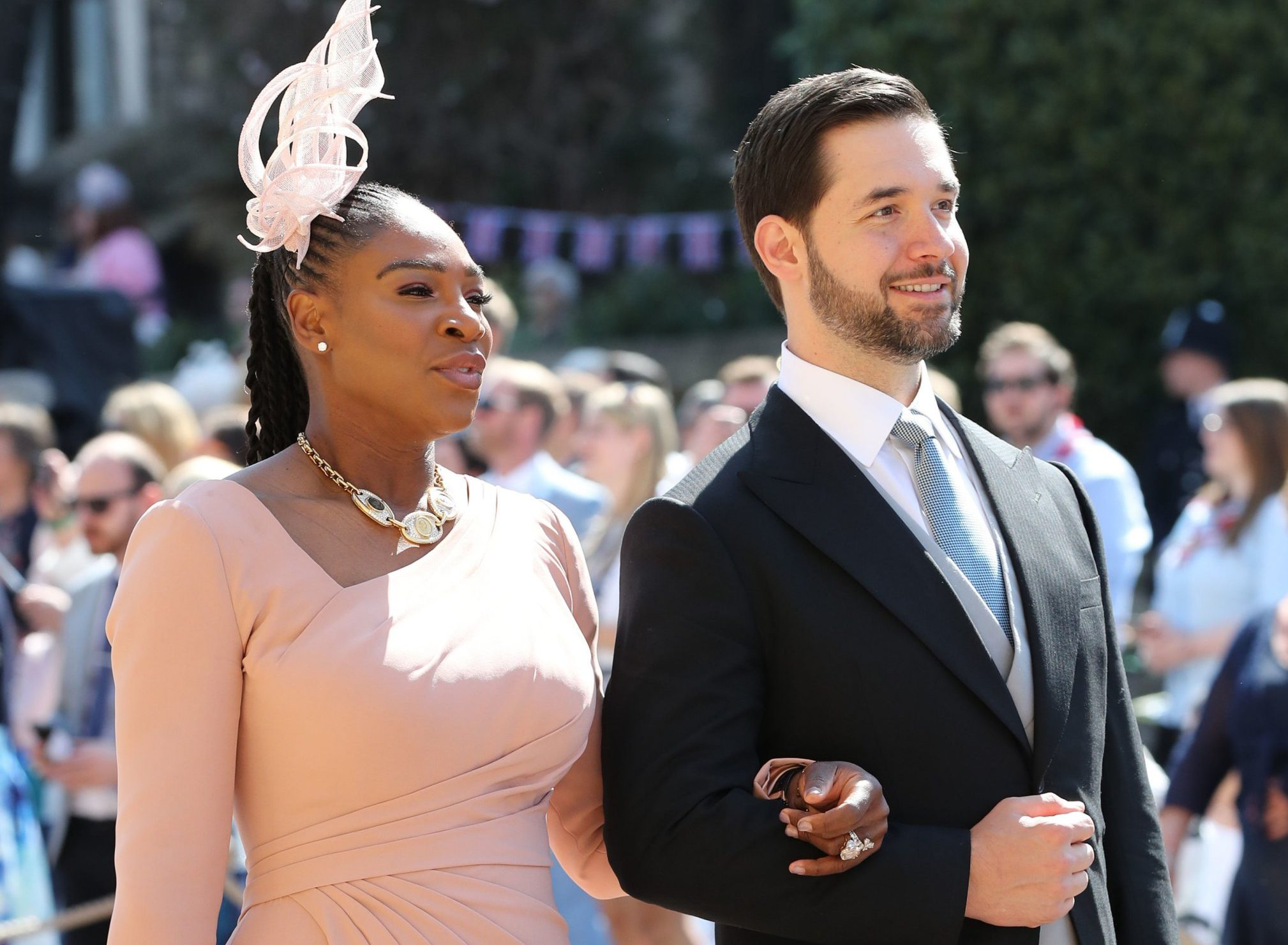 Serena Williams and Alexis Ohanian arrive at St George's Chapel at Windsor Castle for the wedding of Meghan Markle and Prince Harry. PRESS ASSOCIATION Photo. Picture date: Saturday May 19, 2018. See PA story ROYAL Wedding. Photo credit should read: Gareth Fuller/PA Wire