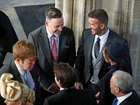 Sir Elton John and David Furnish pal around with the Beckhams at the royal wedding