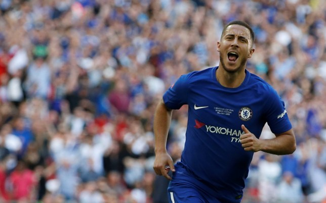 Soccer Football - FA Cup Final - Chelsea vs Manchester United - Wembley Stadium, London, Britain - May 19, 2018 Chelsea's Eden Hazard celebrates scoring their first goal REUTERS/Andrew Yates