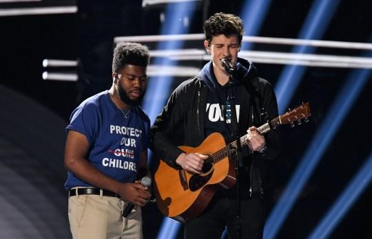 Mandatory Credit: Photo by Rob Latour/REX/Shutterstock (9686413js) Khalid and Shawn Mendes Billboard Music Awards, Show, Las Vegas, USA - 20 May 2018