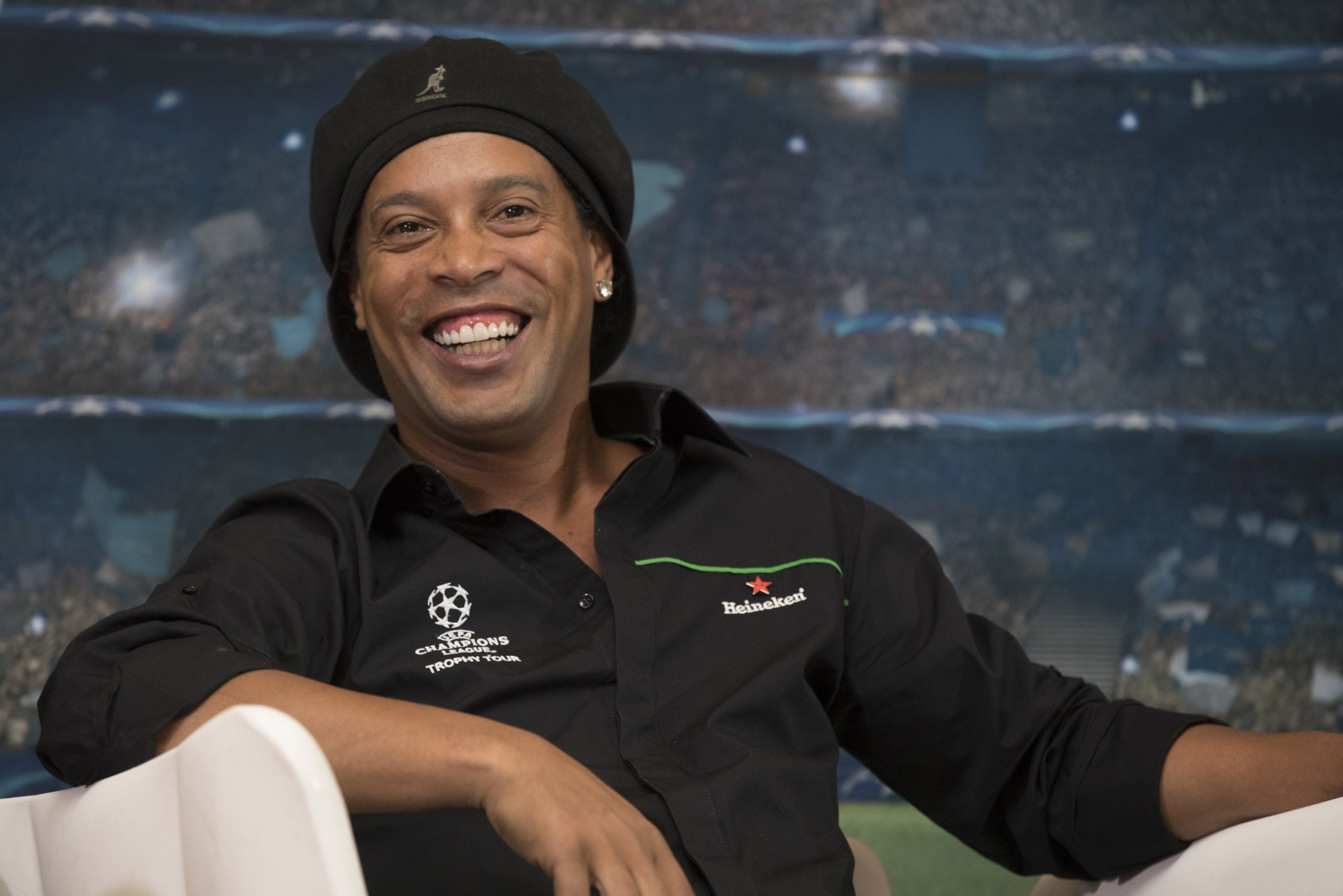 ADDIS ABABA - APRIL 14: Ronaldinho, Heineken Ambassador, is pictured during a press briefing with the UEFA trophy during the UEFA Champions League Trophy Tour Presented by Heineken at the Hilton Hotel on 14 April 2018 in Addis Ababa, Ethiopia. (Photo by Getty Images)