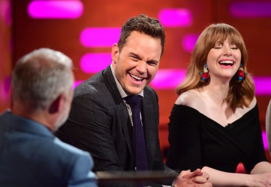 Graham Norton, Chris Pratt and Bryce Dallas Howard during the filming of the Graham Norton Show at BBC Studioworks 6 Television Centre, Wood Lane, London, to be aired on BBC One on Friday evening. PRESS ASSOCIATION Photo. Picture date: Thursday May 24, 2018. Photo credit should read: PA Images on behalf of So TV