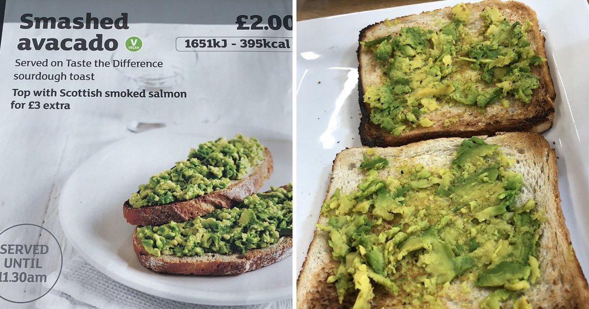 Smashed avocado comes exactly as described at Sainsbury's