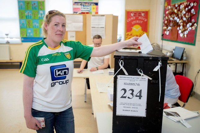 Marie O'Donnell casts her vote at Scoil Mhuire Gan Smal Polling Station, Lifford, Co. Donegal, as the country goes to the polls to vote in the referendum on the 8th Amendment of the Irish Constitution. PRESS ASSOCIATION Photo. Picture date: Friday May 25, 2018. See PA story IRISH Abortion. Photo credit should read: Liam McBurney/PA Wire